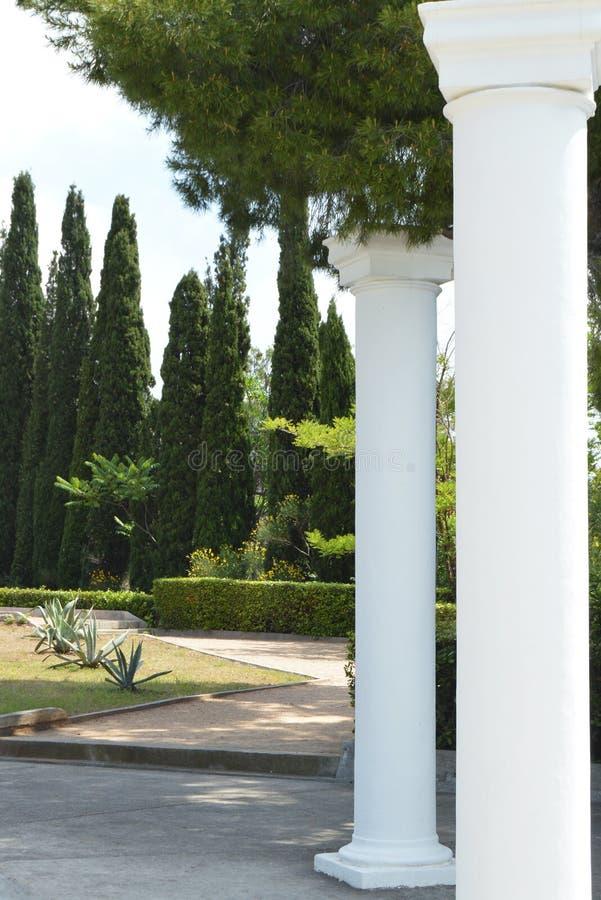 Witte decoratieve kolommen in Griekse stijl om het Park te verfraaien stock fotografie