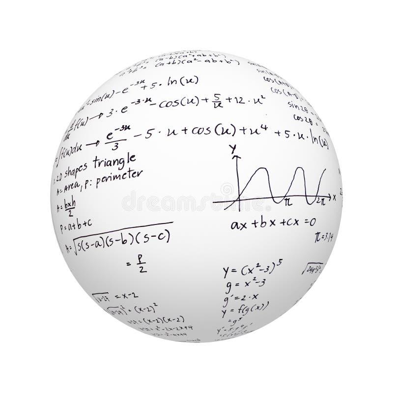 Witte die gebied of bal en millimeterpapiertextuur voor het bestuderen van wiskunde of fysicaonderwerp op witte achtergrond wordt royalty-vrije illustratie