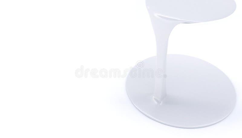 Witte die gouacheverf op de oppervlakte wordt gemorst Een geïsoleerde straal van dikke vloeistof op een witte achtergrond Banner  stock illustratie