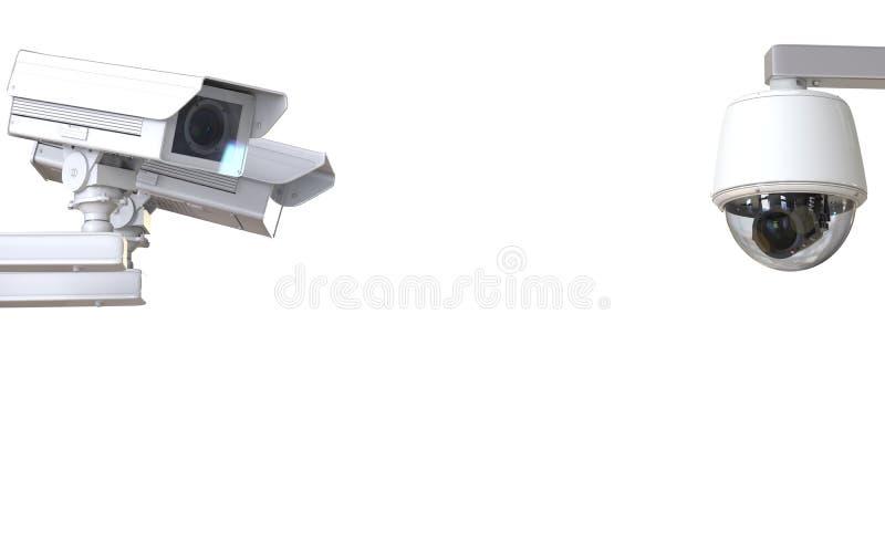 Witte die kabeltelevisie-camera of veiligheidscamera op wit wordt geïsoleerd stock fotografie