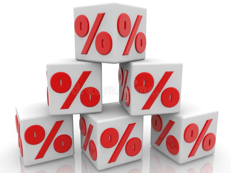 Witte die kubussen in de piramide met percentenconcept worden opgestapeld royalty-vrije illustratie