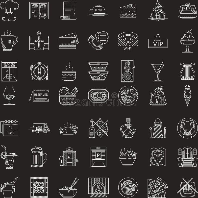 Witte die lijnpictogrammen voor restaurant worden geplaatst royalty-vrije illustratie