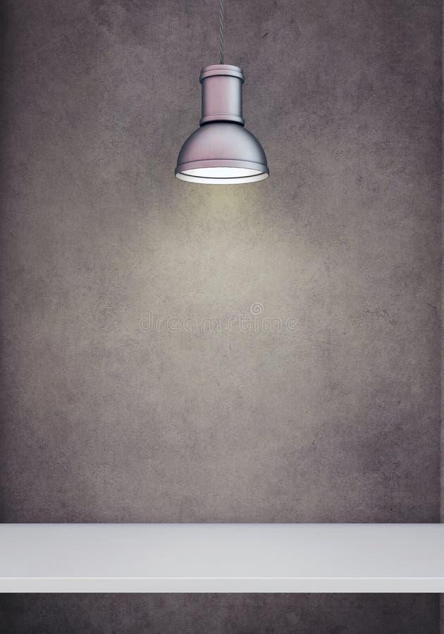 Witte die plank door tegenhangerlamp wordt aangestoken stock afbeeldingen