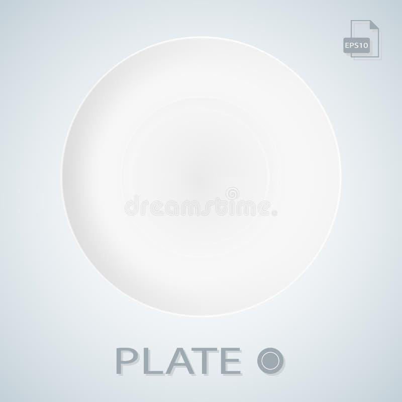 Witte die Porcellan-Plaat op een Achtergrond wordt geïsoleerd Vector illustratie vector illustratie