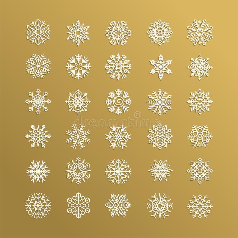 Witte die sneeuwvlokkeninzameling op gouden achtergrond wordt geïsoleerd vector illustratie