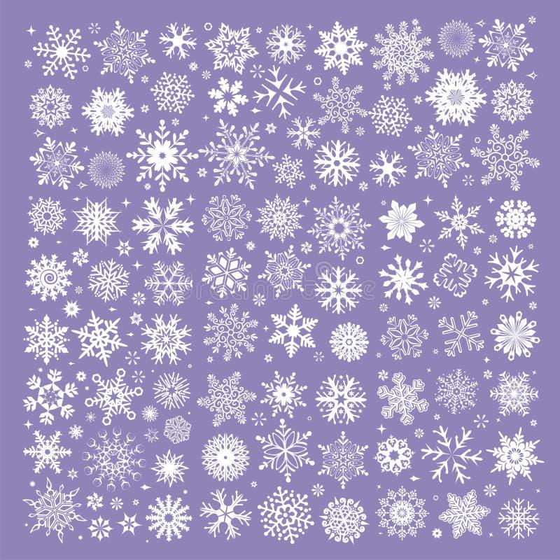 Witte die sneeuwvlokkeninzameling op purpere achtergrond wordt geïsoleerd stock illustratie