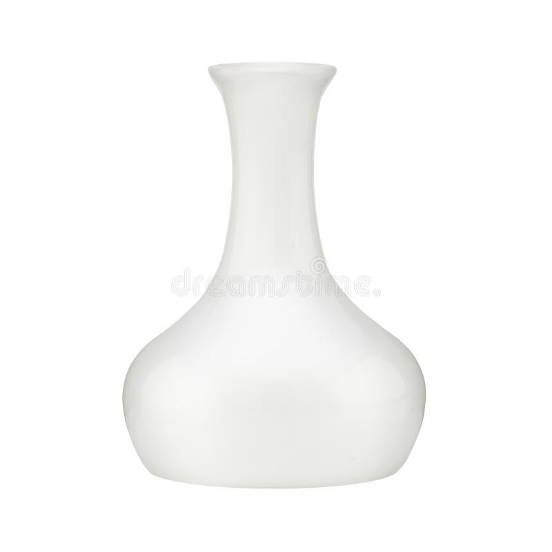 Witte die vaas op witte achtergrond met het knippen van weg wordt geïsoleerd royalty-vrije stock fotografie