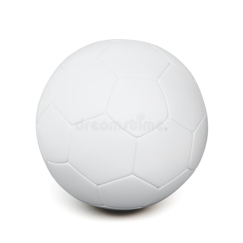 Witte die voetbalbal op witte achtergrond wordt geïsoleerd het 3d teruggeven stock illustratie
