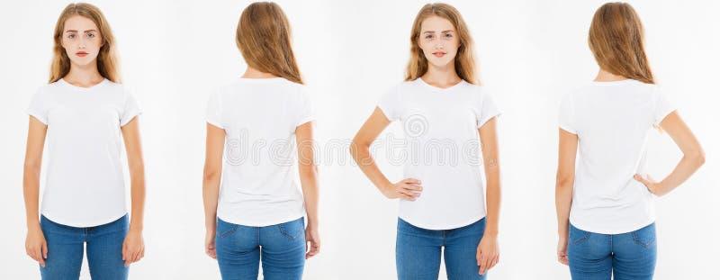 Witte die vrouwent-shirt op witte achtergrond, achter en vooraanzichtmeisjes wordt geïsoleerd in witte t-shirt stock afbeeldingen