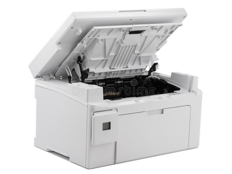 Witte digitale die printer op witte achtergrond wordt geïsoleerd stock foto's