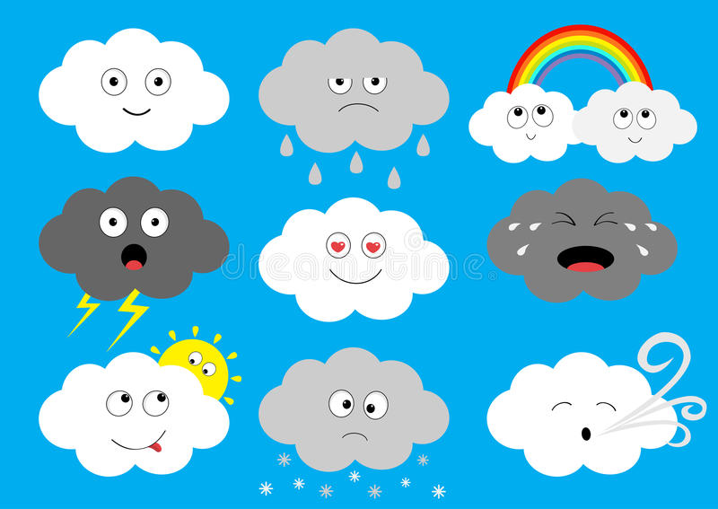 Witte donkere het pictogramreeks van wolkenemoji Pluizige wolken Zon, regenboog, regendaling, wind, blikseminslag, onweersbliksem stock illustratie