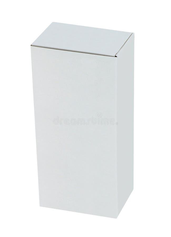 witte doos die op wit wordt geïsoleerd royalty-vrije stock afbeelding