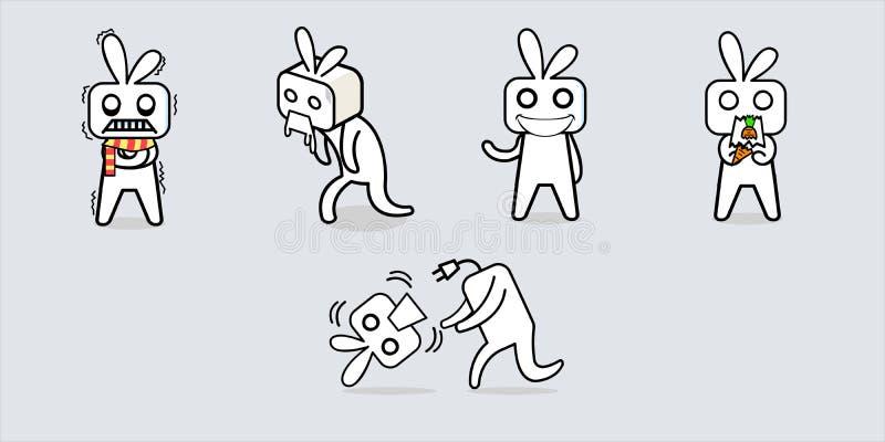 Witte doos zoals het ontwerp van het het beeldverhaalkarakter van de konijnrobot royalty-vrije illustratie