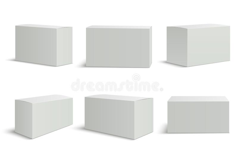 Witte dozenmalplaatjes Lege medische vakje 3d geïsoleerde document verpakking Het pakket vectormodel van het rechthoekkarton vector illustratie