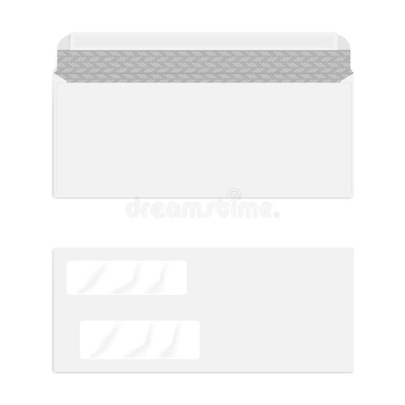 Witte dubbele de controleenvelop van de venster zelfverbinding met veiligheid patte royalty-vrije illustratie