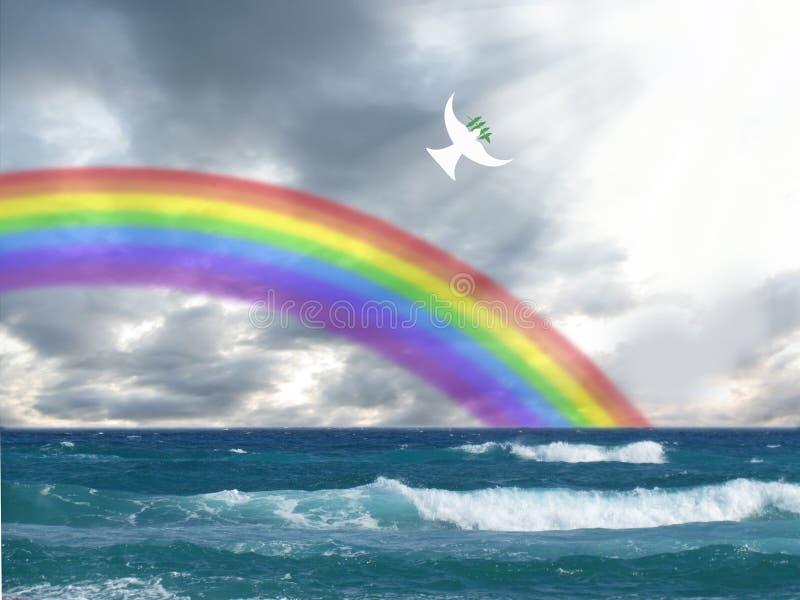 Witte duif die aan het licht met olijfblad en regenboog christelijk symbool vliegen van vrede en heilige geest stock afbeelding