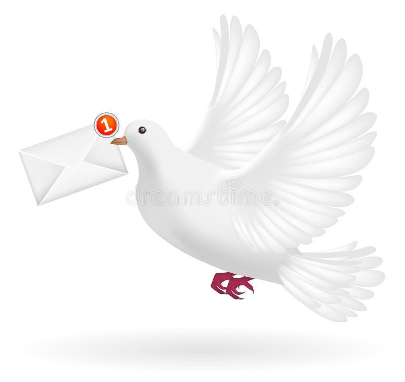 Witte duif die met het bericht van de enveloppost vliegen royalty-vrije illustratie