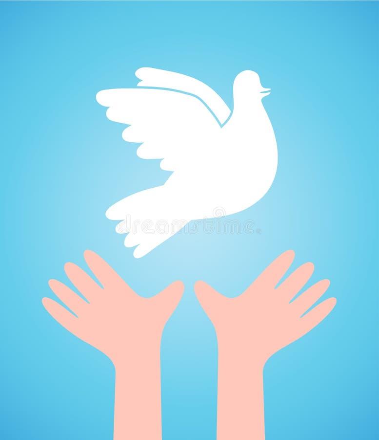 Witte duif en kindhanden vector illustratie