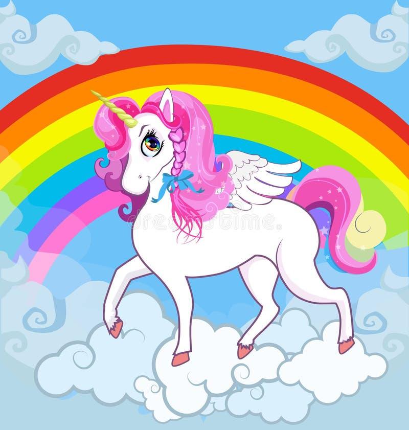 Witte eenhoorn met roze manen op hemel met regenboog en wolken royalty-vrije illustratie