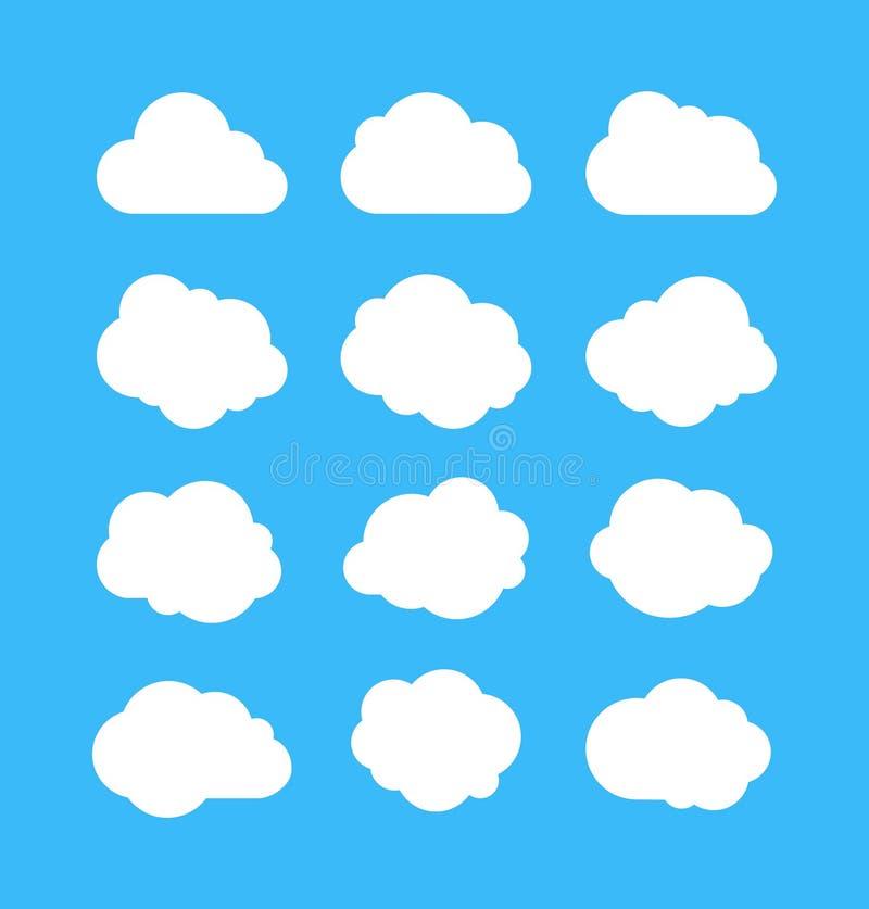 Witte eenvoudige wolken Dekking van bubbels, vormen van cloudberichten Cumulus geïsoleerd op blauwe achtergrond Cartoon vector se royalty-vrije illustratie