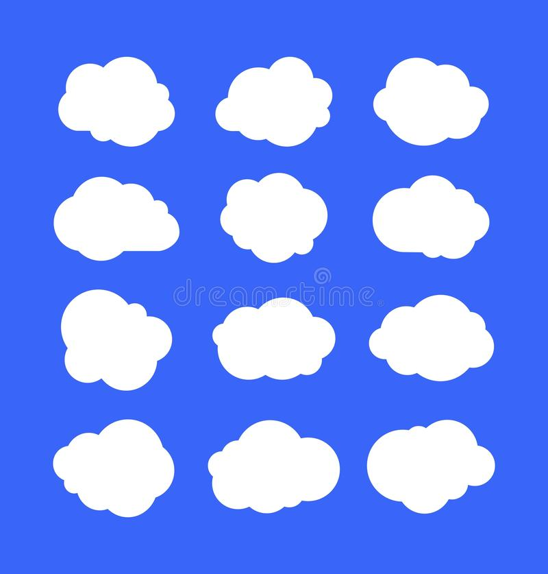 Witte eenvoudige wolken Denkende bellen of markeringen, de abstracte vormen van het wolkenbericht Cumulus op blauwe hemel wordt g stock illustratie