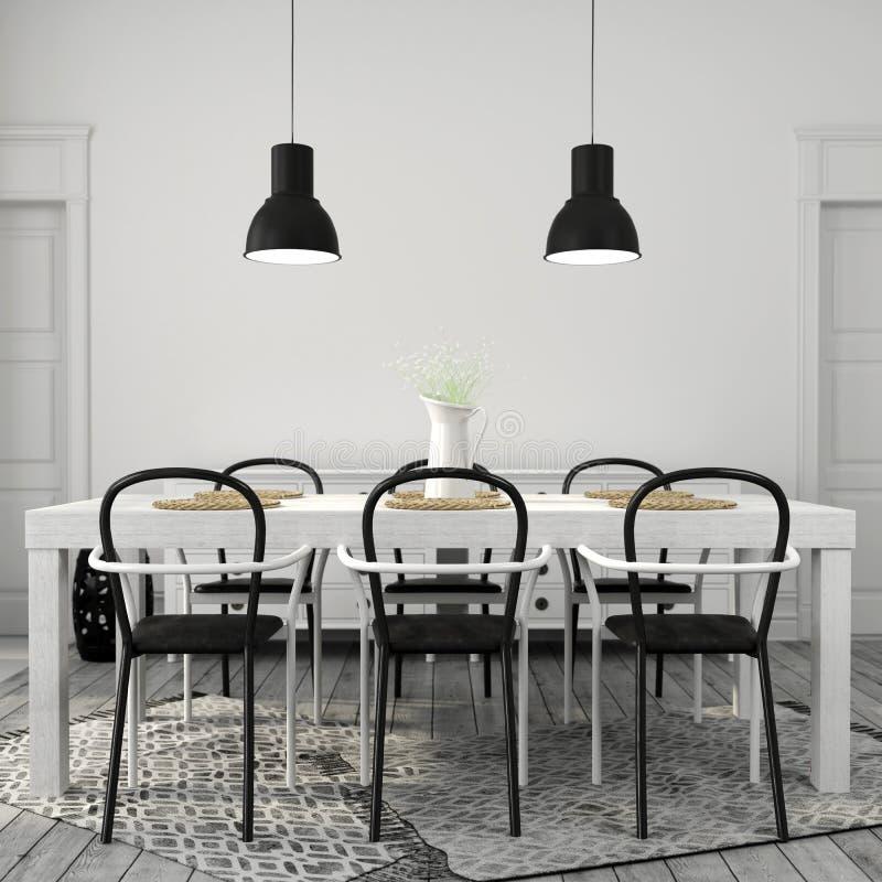 Witte Tafel Zwarte Stoelen.Twee Zwarte Stoelen En Een Lijst Stock Afbeelding