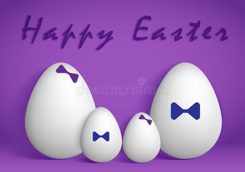 Witte eieren op een purpere achtergrond royalty-vrije illustratie