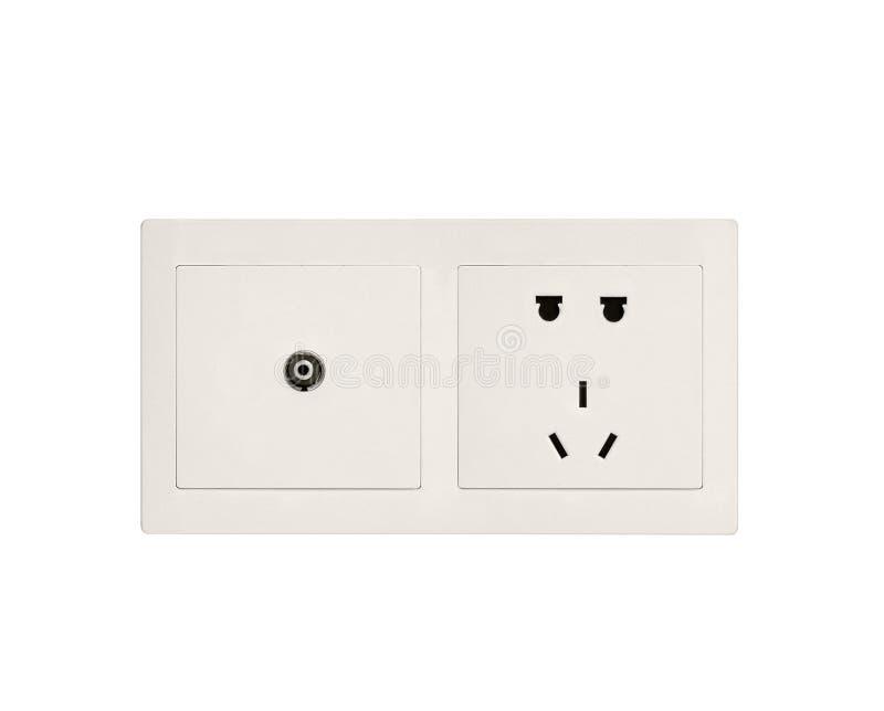 Witte elektrische afzet stock afbeelding