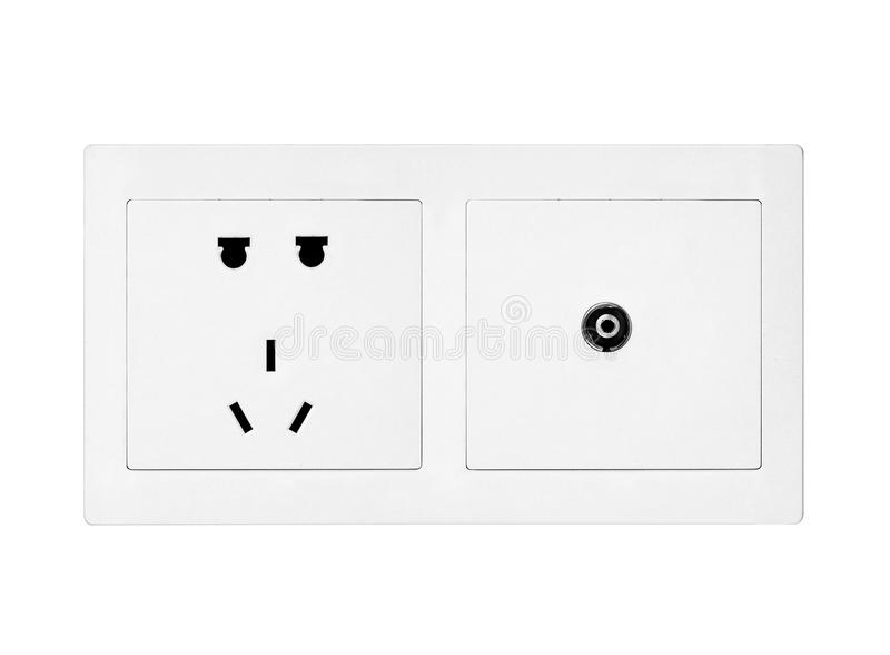 Witte elektrische afzet stock afbeeldingen