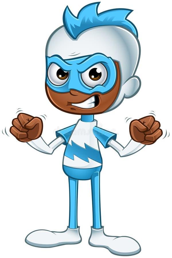 Witte en Blauwe Boze Superhero - stock foto's