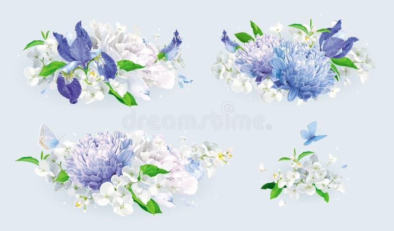 Witte en blauwe het boeketreeks van de zomerbloemen vector illustratie