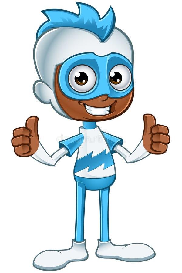 Witte en Blauwe Superhero - Twee Duimen omhoog stock foto