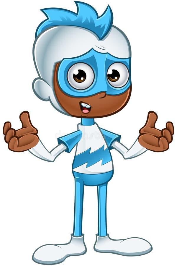 Witte en Blauwe Verwarde Superhero - royalty-vrije stock afbeelding