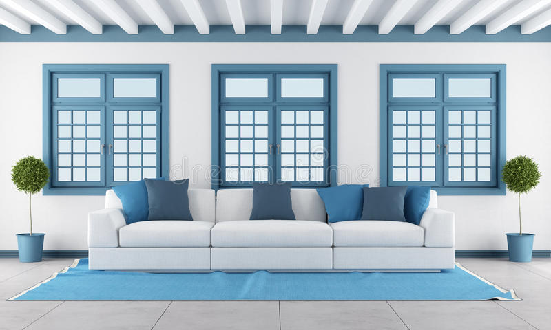 Witte en blauwe woonkamer royalty-vrije illustratie
