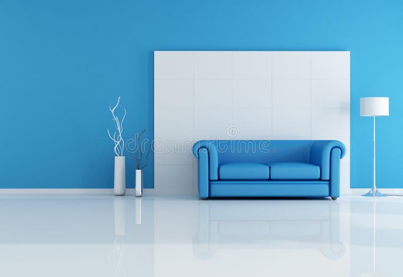 Witte en blauwe woonkamer vector illustratie