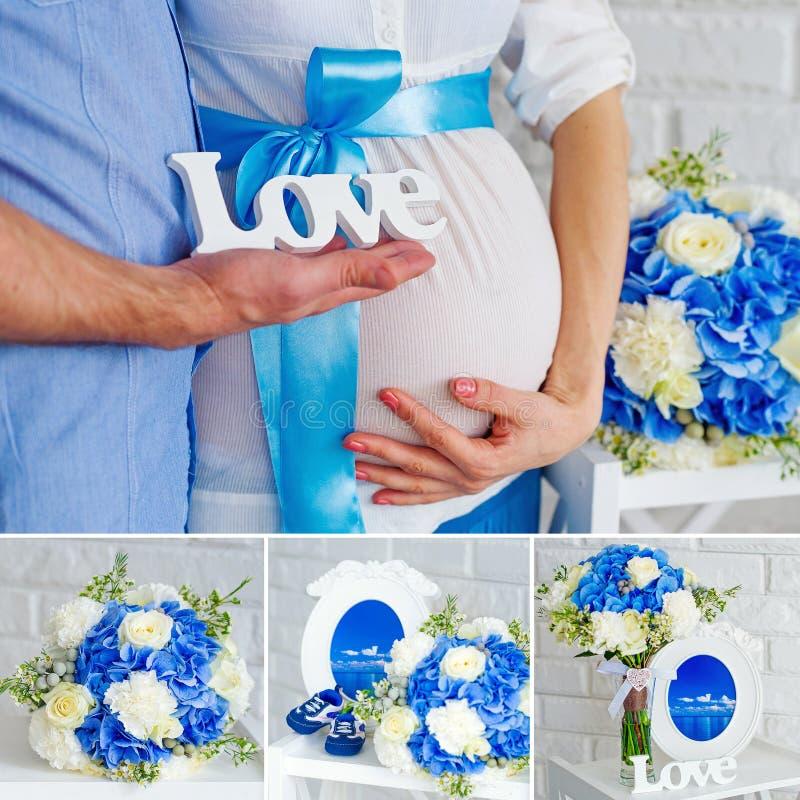 Witte en blauwe zwangerschapscollage stock foto's