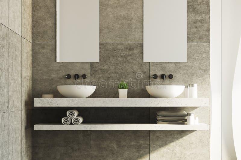 Witte en concrete badkamers, gootstenen royalty-vrije illustratie