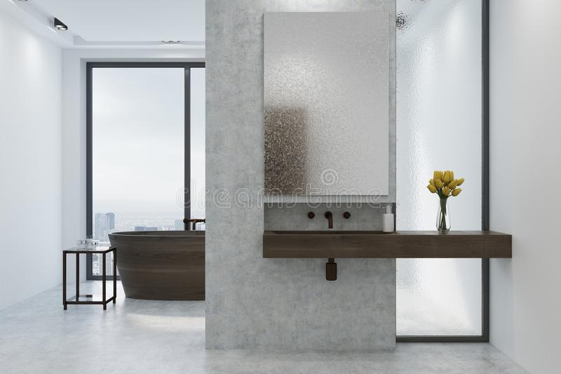 Witte en concrete badkamers, houten ton, gootsteen vector illustratie