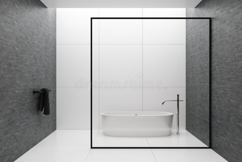 Witte en grijze badkamers, ronde ton royalty-vrije illustratie