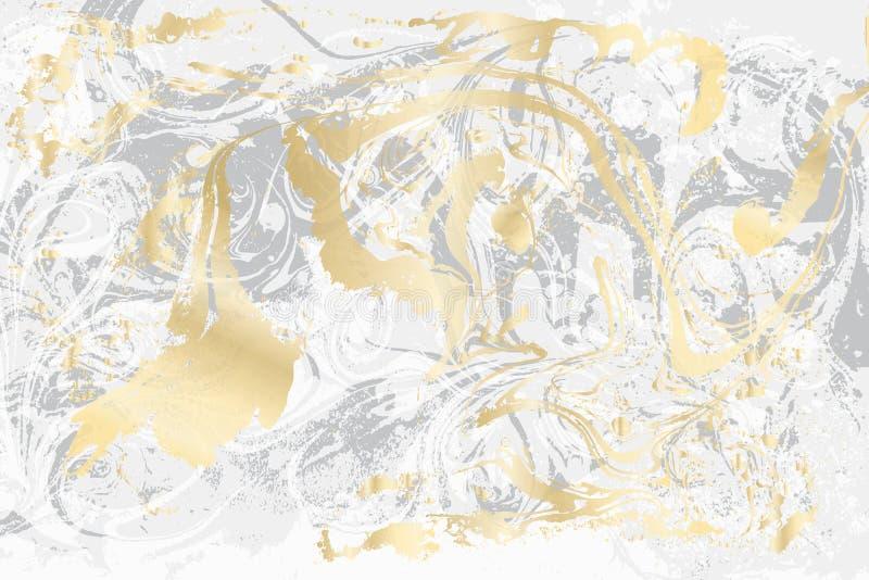 Witte en grijze marmeren textuur Goud marmerpatroon Lichte vectoroppervlakte royalty-vrije illustratie