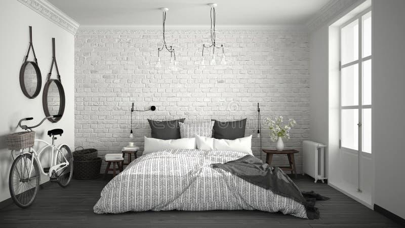 Witte En Grijze Moderne Slaapkamer Met Comfortabel Tweepersoonsbed ...