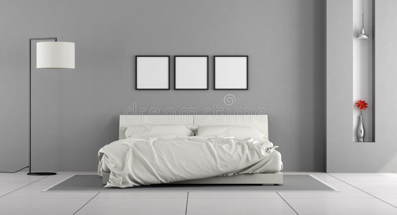 Witte en grijze slaapkamer stock illustratie. Illustratie bestaande ...