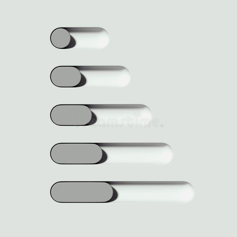 Witte en grijze wisselknoppen op lichte achtergrond het 3d teruggeven stock illustratie