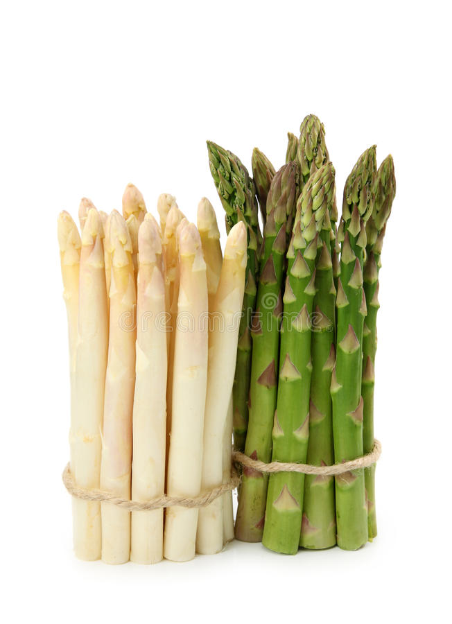Witte en groene asperge royalty-vrije stock foto's