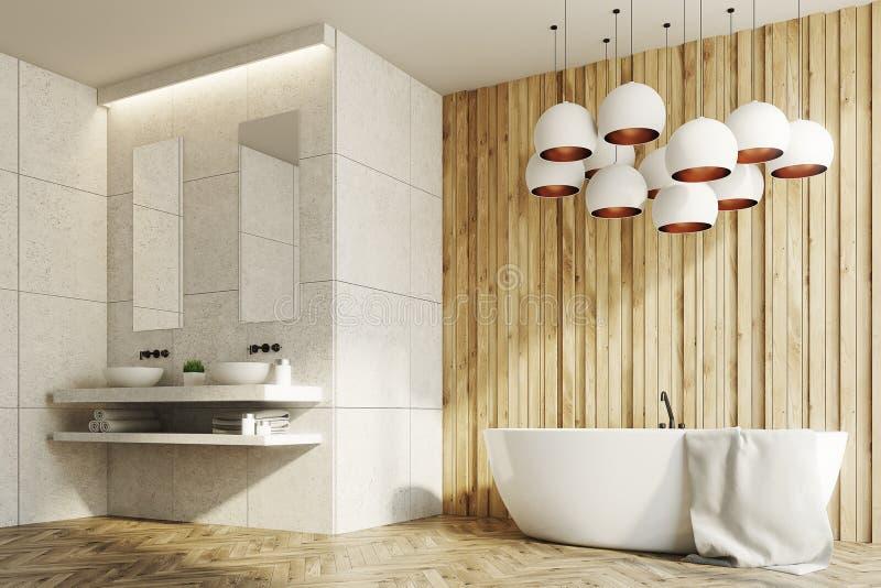 Witte en houten badkamers, gootstenen, ton, kant vector illustratie