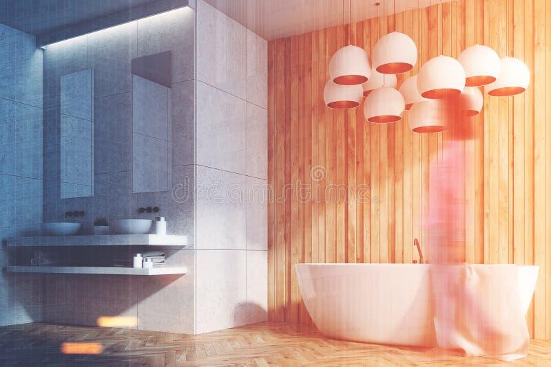 Witte en houten badkamers, gootstenen, ton, kant, meisje vector illustratie