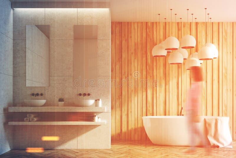 Witte en houten badkamers, gootstenen, ton, meisje vector illustratie