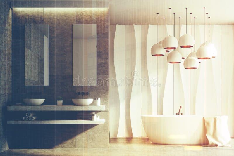 Witte en marmeren badkamers, gootstenen, gestemde ton stock illustratie