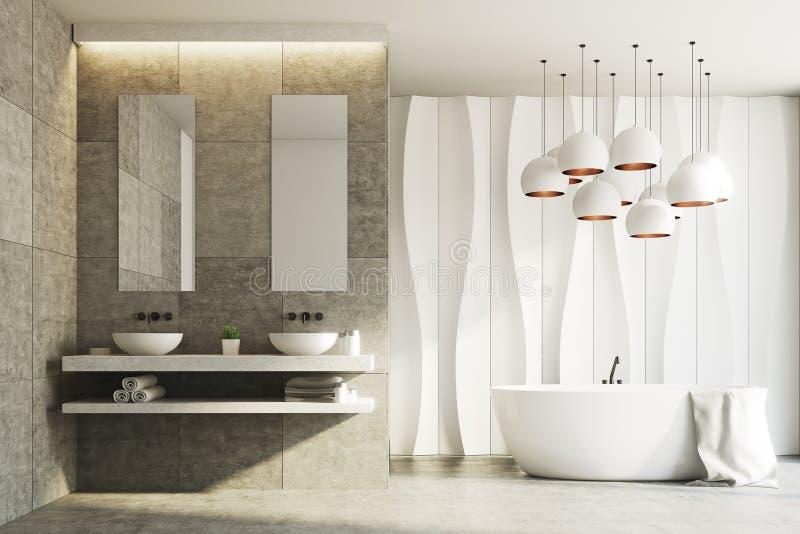 Witte en marmeren badkamers, gootstenen, ton stock illustratie