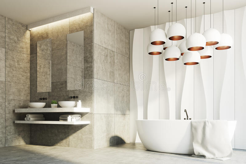 Witte en marmeren badkamers, gootstenen, ton, kant royalty-vrije illustratie
